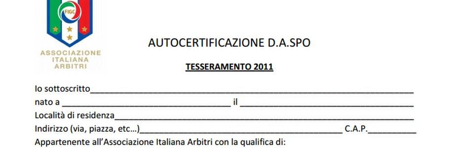 Dichiarazione DASPO 2015
